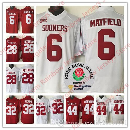 19698755e Oklahoma Sooners College Football Jerseys 6 Baker Mayfield 28 Adrian  Peterson 44 Brian Bosworth 32 Samaje Perine Red White Limited Rose Bowl 6  Baker ...
