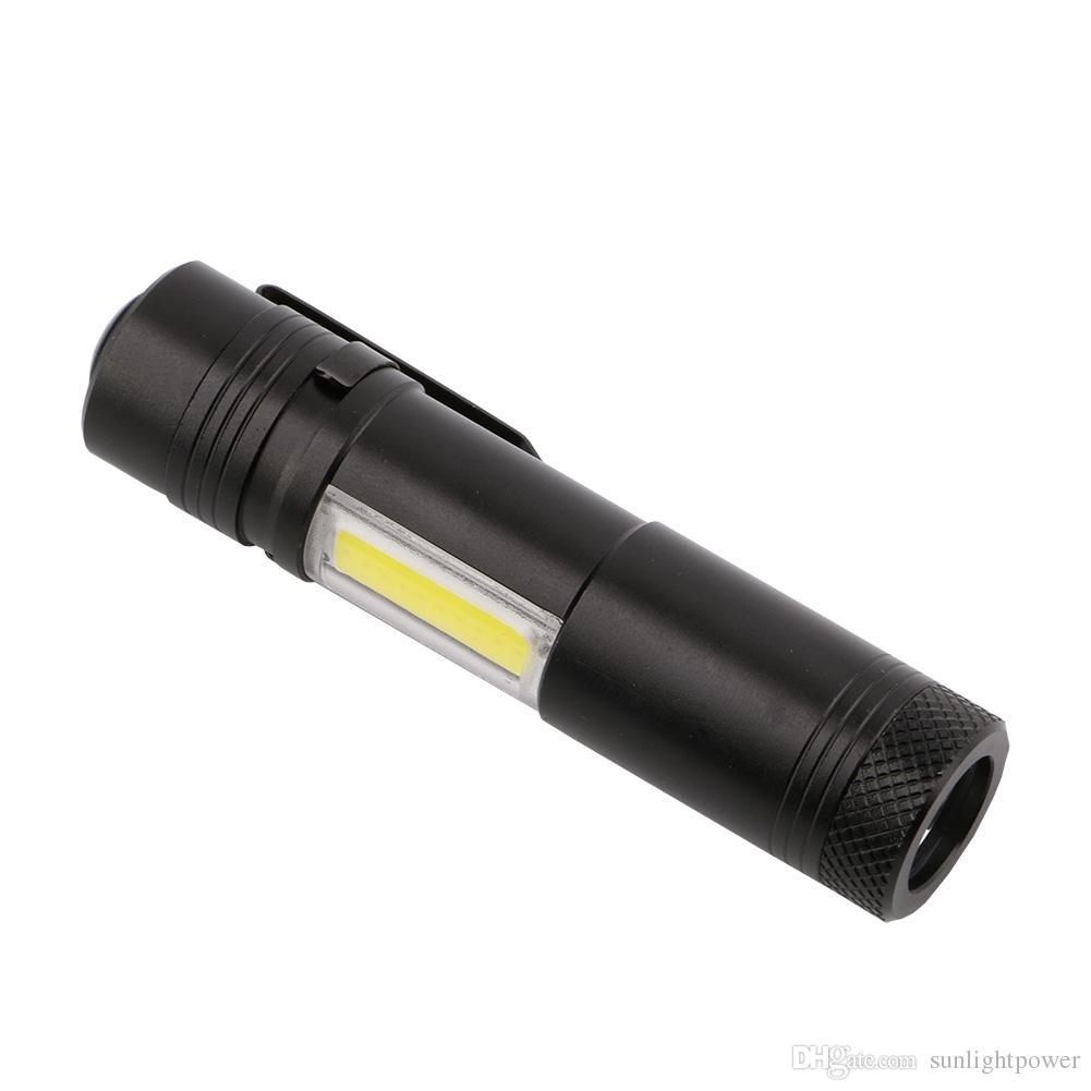 Kalem Işık 4 Modu Taşınabilir Mini LED El Feneri Torch XPE LED + COB LED El Feneri 800LM Avcılık Kamp Işık AA / 14500 Pil