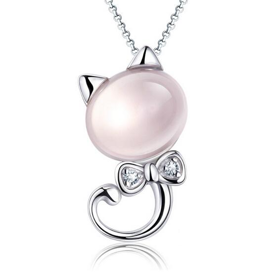 30% 925 Ayar Gümüş 5KT Doğal Gül Kuvars Beyaz Altın Kaplama Shining İsviçre Elmas Miao Kedi Kolye Kolye