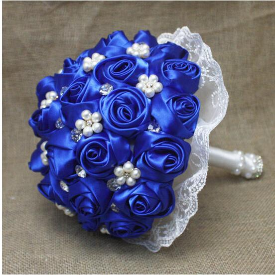 2018 Royal Blue Peal Crystal Bridal Bouquet Wedding