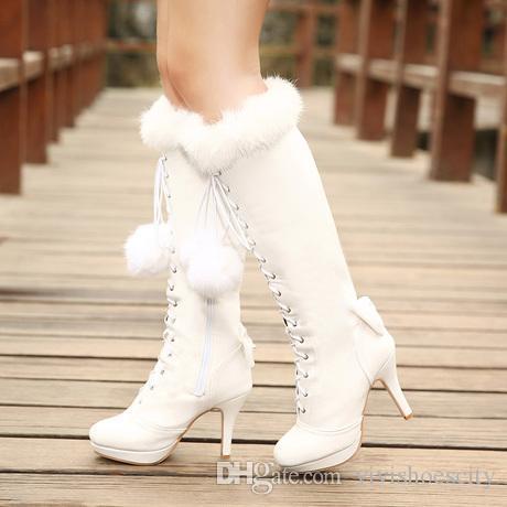 Luxury Rabbit Fur Wedding Boots Pink White Bridal Boots