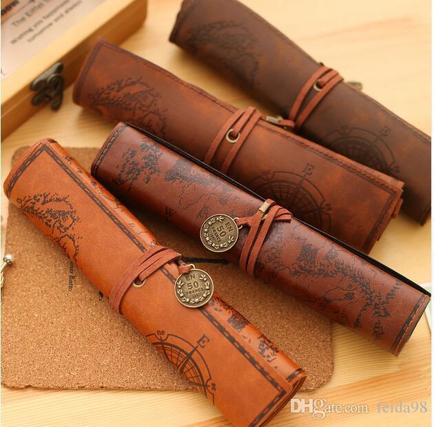 Старинные ретро Карта Сокровищ пеналы роскошный рулон кожа PU ручка сумка для канцелярских школьных принадлежностей составляют косметичка G1229
