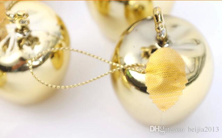Schiuma di plastica lucida mela pendente natale ornamento 5 cm, 4 cm colore rosso e oro, decorazioni casa natale all'ingrosso, ornamento fabbrica /