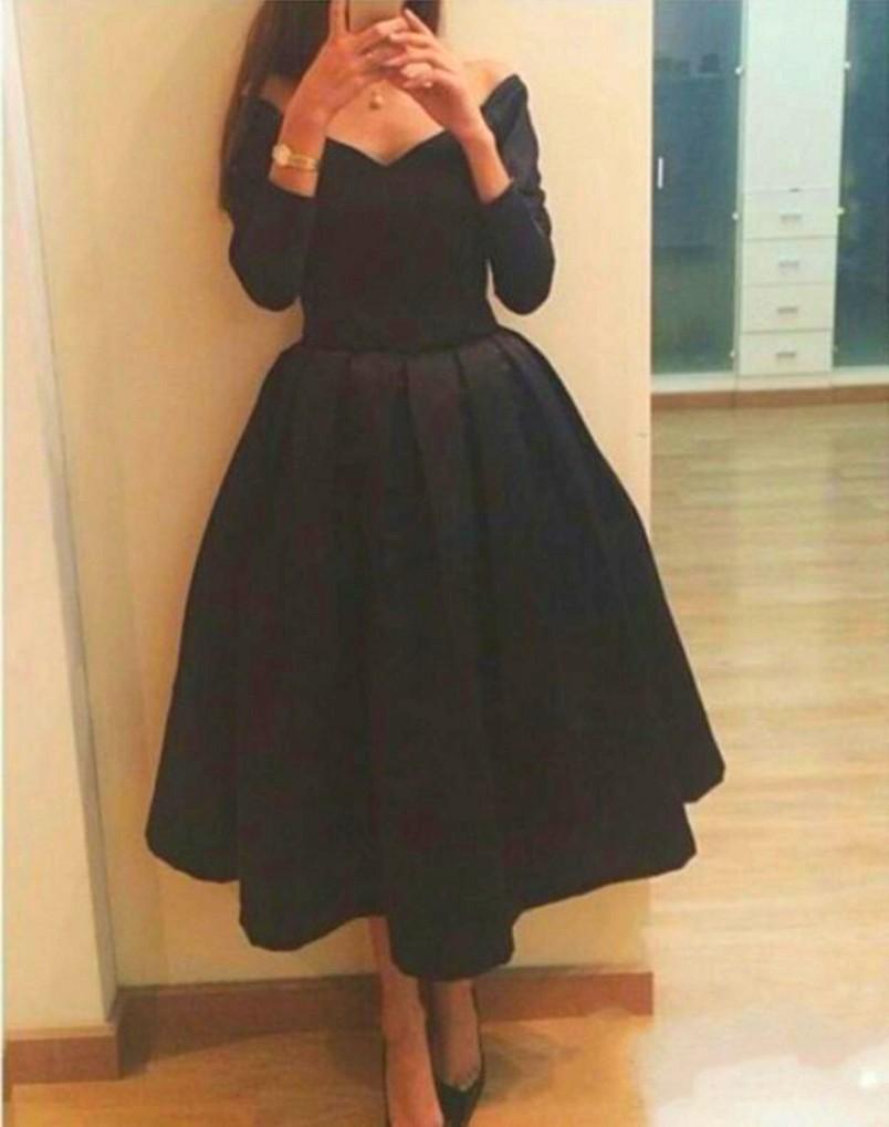 2015 Black Tea Length Evening Dresses V Neck Long Sleeves Graduation Gowns Party Dresses Short Arabic Dubai Prom Dresses