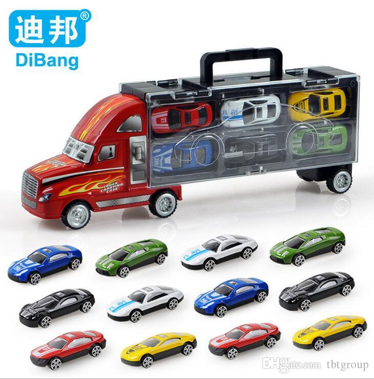 2017 kids boy car toy model toys diecast cars model vehicle portable container trucks toys set car toys best christmas gifts from tbtgroup