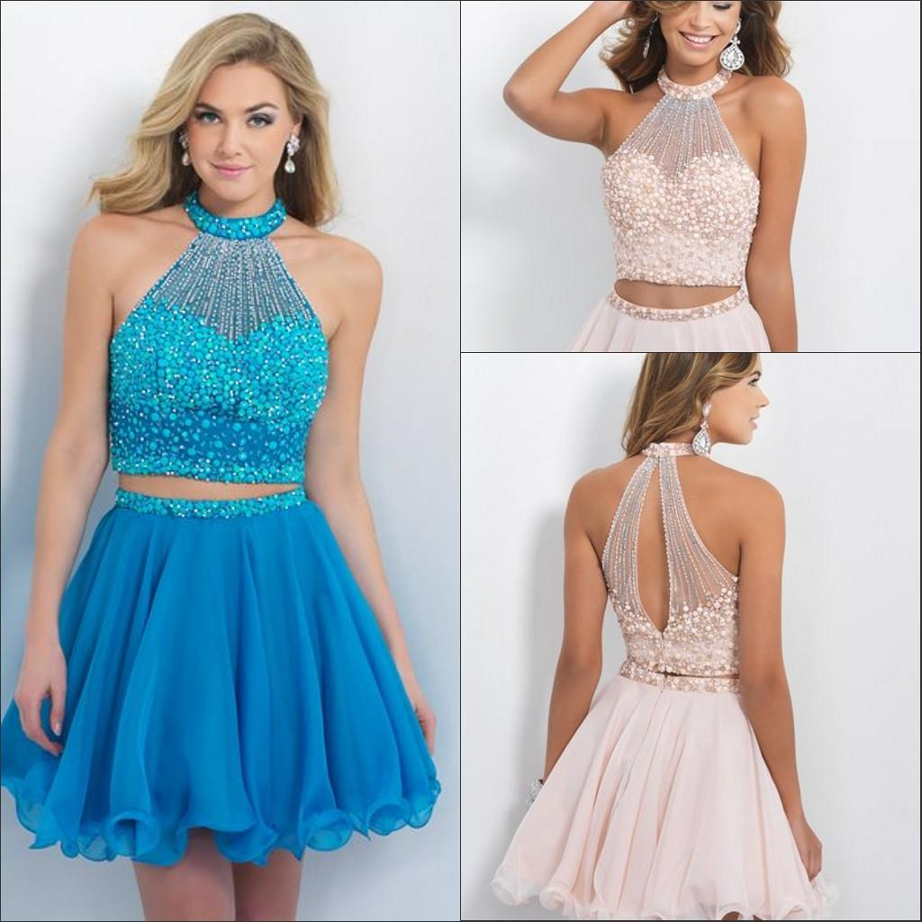 5b180e4143 Blush Prom Dresses Bling Beading Two Piece Homecoming Dress High Neck  Sleeveless Chiffon A Line Mini Short Cocktail Party Gowns 2015 Shop Dresses  Online ...