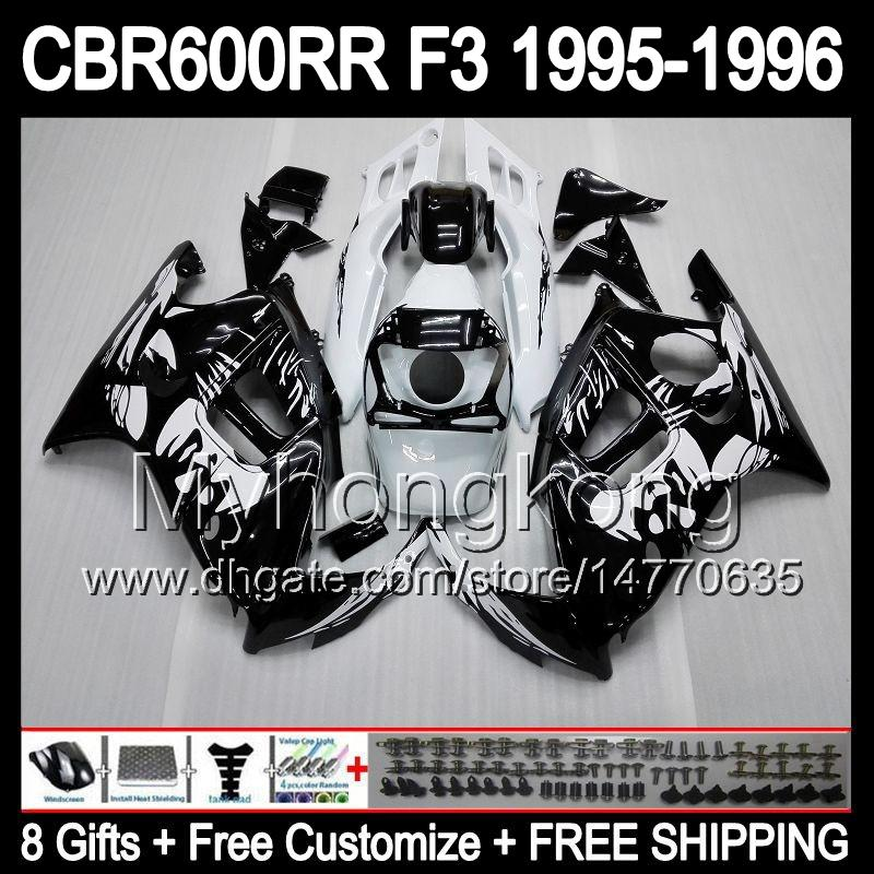 8gifts+ Bodywork Black For HONDA CBR600RR F3 95-96 CBR600F3 CBR600 F3 CBR 600F3 CBR 600 F3 95 96 1995 1996 Graffiti Black white Fairing Kit