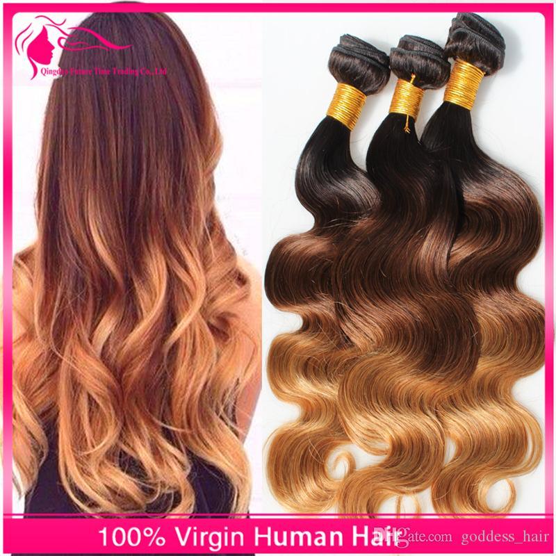 Бразильский 3 тон класса 9а омбре наращивание волос 1b/4 / 27 Омбре волос плетет 3 шт./лот блондинка волна тела девственные человеческие волосы