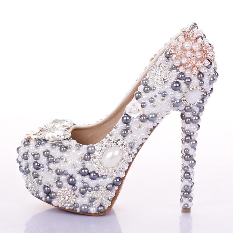 Customized Luxury Grey Wedding Shoes Pearls Crystal High Heel Platform Pumps Quality Italian Women Prom Ballet Beach