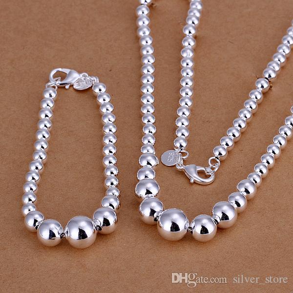 High grade 925 sterling silver Size piece prayer beads jewelry set DFMSS080 brand new Factory direct 925 silver necklace bracelet