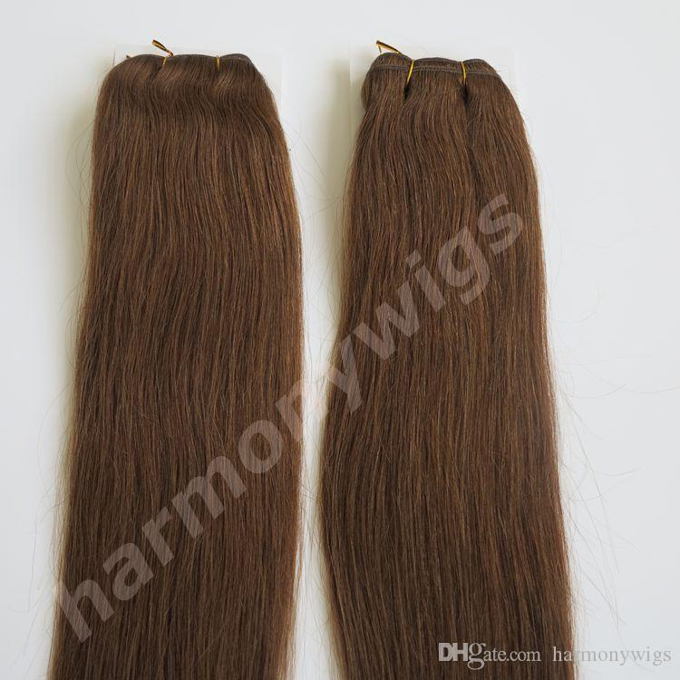 100% Human hair wefts Brazilian hair weaves 100g 22inch #6/Medium Brown Straight hair extensions tangle free Indian hair products