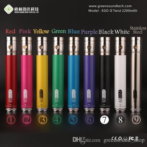 ful GS EGO II Twist 2200mah Battery variable voltage 3.3v-4.8v Battery Bottom Twist Batteries for ego 510 Atomizer