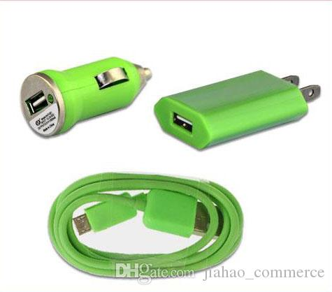 3 en 1 Chargeur Micro V8 USB Câble de Données + Mini Chargeur de Voiture + AC EU US Wall Adapter pour téléphone intelligent, téléphone mobile, téléphone android