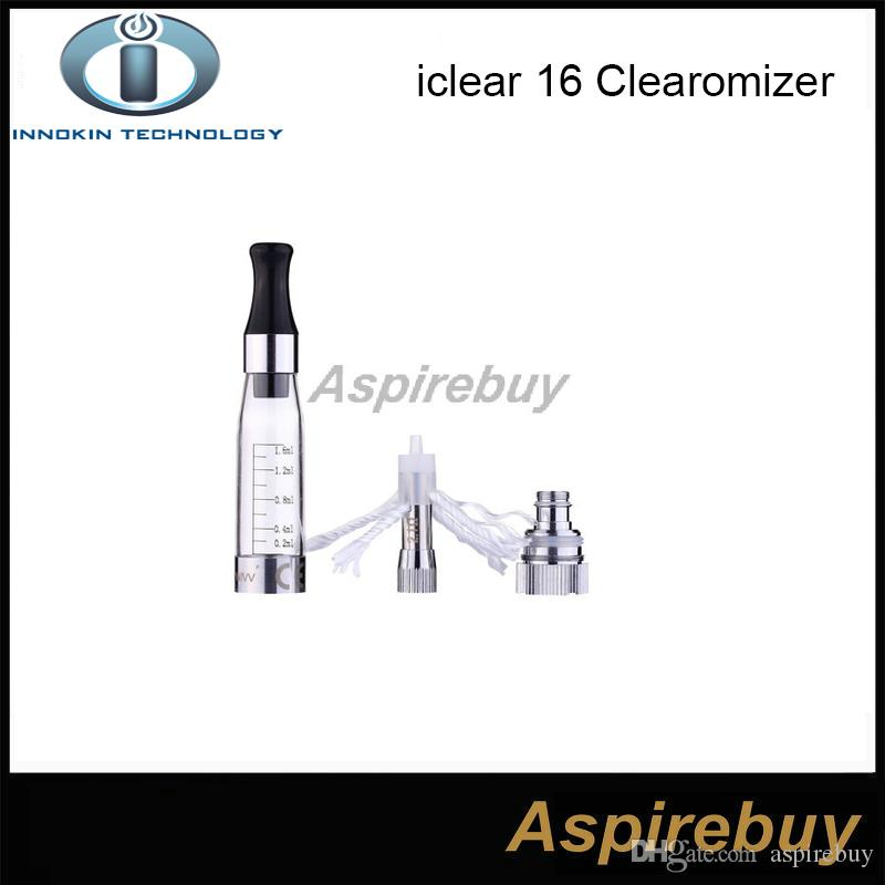 Authentic Innokin IClear 16 Clearomizer with Dual Coil 전자 담배 Ecig Atomizer 코일 헤드 Iclear16 교체 가능 헤드 코일 2.1ohm