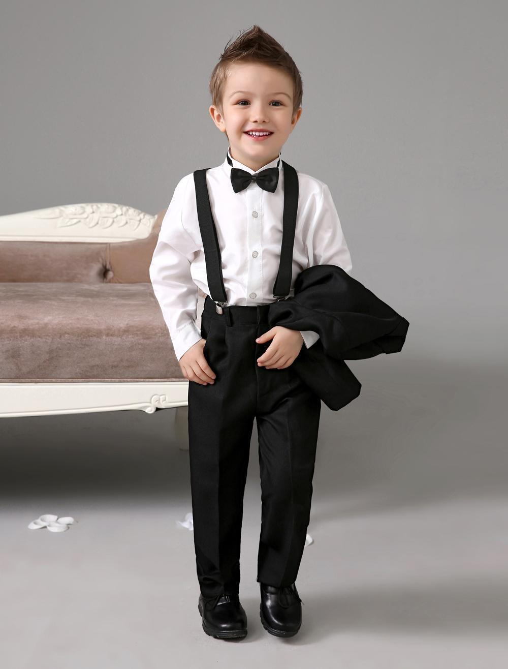 Three Pieces Luxurious Black Ring Bearer Suits Boys Tuxedo With ...