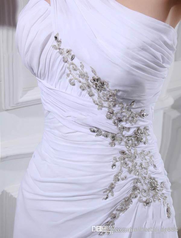 Cheap in stock hot sale 2015 New Arrival Sheath High Quality Wedding Dresses One Shoulder white chiffon backless Sweep Train new design sexy