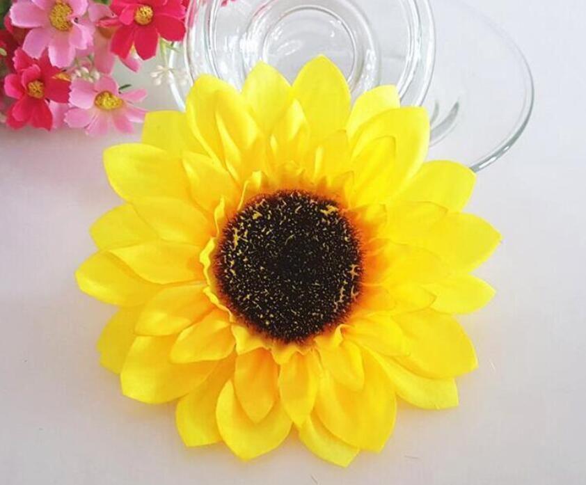 1000 pz / lotto 2.8 '' Fiori Artificiali Seta teste di girasole Fiore Simulazione fiori Decorativi la Festa Nuziale Casa All'ingrosso