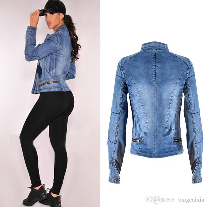 Freies Großhandelsverschiffen populäre Frauen-blaue Denim-Jacke Multi-Reißverschluss Bewegungsart-Standplatz-Kragen-Windschutz-Mantel plus Größe XL