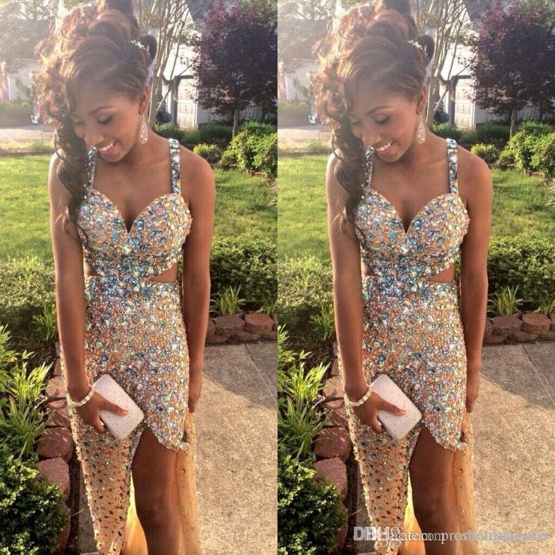Sparkly Gold Prom Dresses With Crystal/Rhinestones 2015 Sexy ...