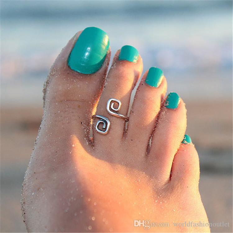 Кольца на пальцах ног Знаменитости Женщины Винтаж Простое Кольцо Пальца Ноги Регулируемые Ноги Пляж Ювелирные Изделия Пляжный показ Ретро Стиль Украшения Для Тела Горячая На Instagram