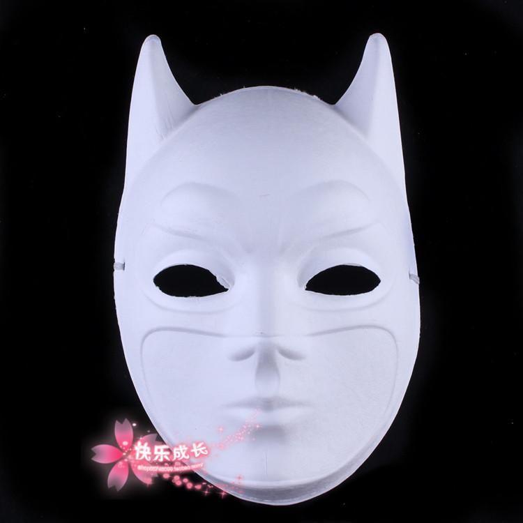 Environmental Paper Pulp Blank White Batman Masks For Masquerade Full Face , DIY Hand Painting Fine Art Programs