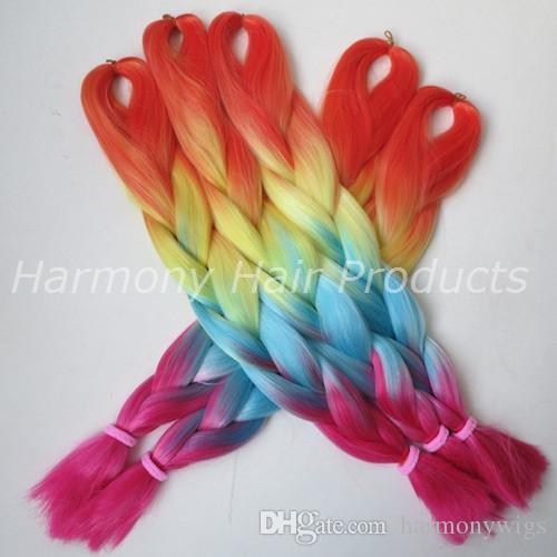 Kanekalon الاصطناعية تجديل الشعر 24 بوصة 100 جرام أومبير أربعة لهجة اللون xpression جامبو جدائل الكروشيه الشعر