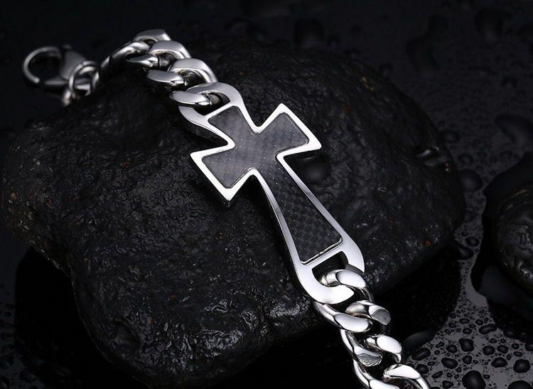 BC Jewelry 23 mm wide cross men silver bracelets chunky bracelets 316L stainless steel bracelets men With carbon fiber BC-090