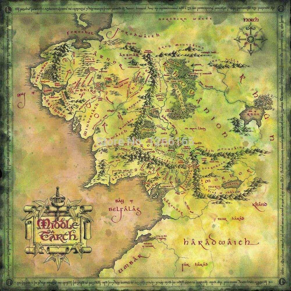 24x24 Inch / Art Silk Poster / The Lord Of The Ring Middle Earth Map ...