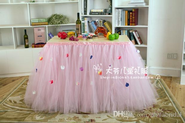 Custom Made Tulle Tutu Wedding Table Skirt Flora Baby Shower Birthday Party Dessert Table Pink Tutu Skirt Wedding Decoration Size 91cm*80cm