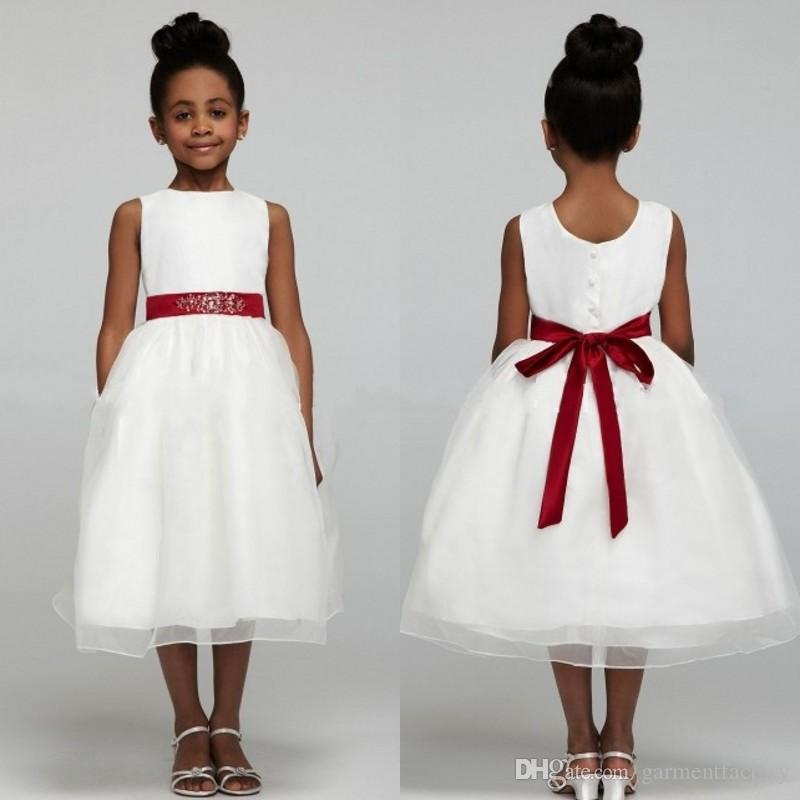 White Flower Girl Dress With Red Sash Jewel Neckline Ball Gown Tea ...