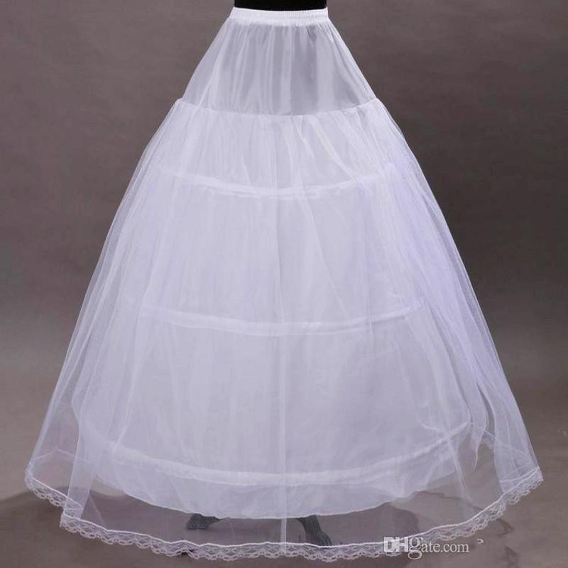 Free Shipping 2016 Hot Sale A Line Bridal Crinoline Petticoat Skirt 3 Hoop Petticoat White Underskirts For Wedding Dress Wedding Accessories