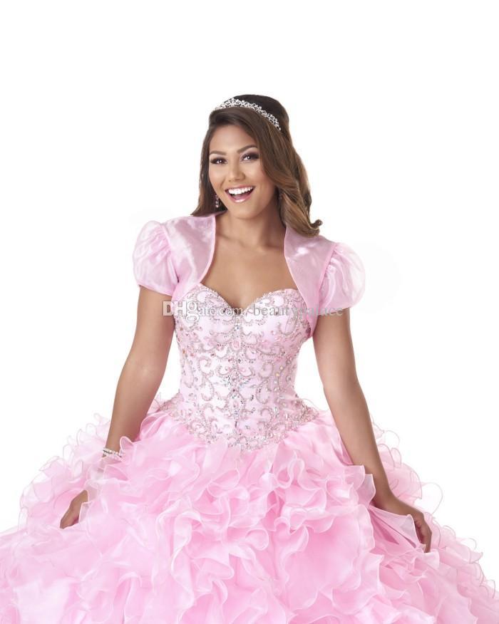 Hermoso vestido de bola cariño quinceañera vestidos de barrido de organza cristal con cuentas de encaje hasta vestidos de baile populares nuevos vestidos de quinceañera