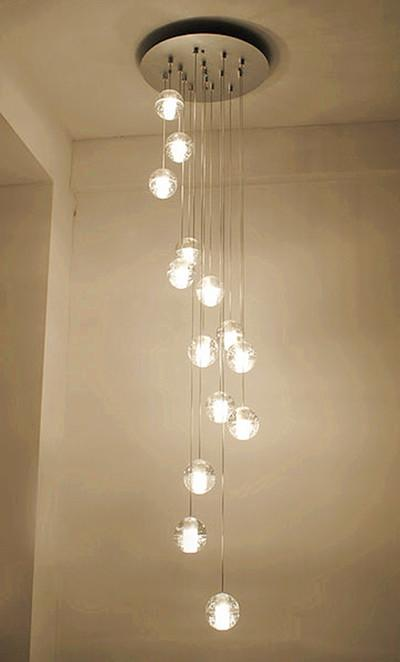 discount modern led crystal glass ball pendant lights long stair lighting luces bubble crystal pendant lamps project long g4 led light globe