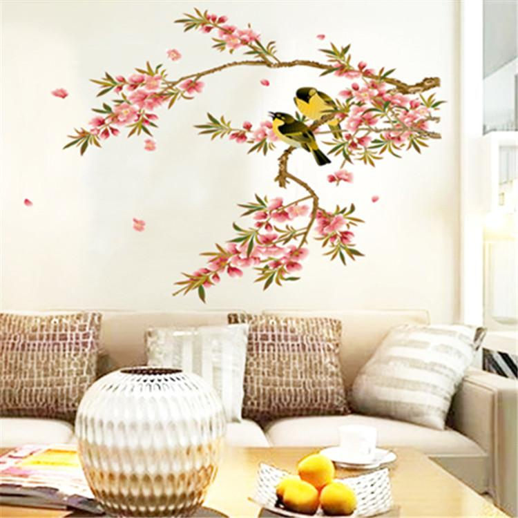 Bird Flower Tree Branch Wall Decal Stickers Home Decoration Wall - Wall decals in pakistanblack flowers removable wall stickers wall decals mural home art