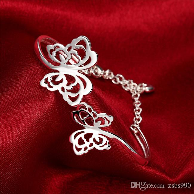 2016 novo design 925 esterlina banhado a prata oco borboleta pulseiras pulseiras moda jóias Presentes de natal Global Hot Frete grátis