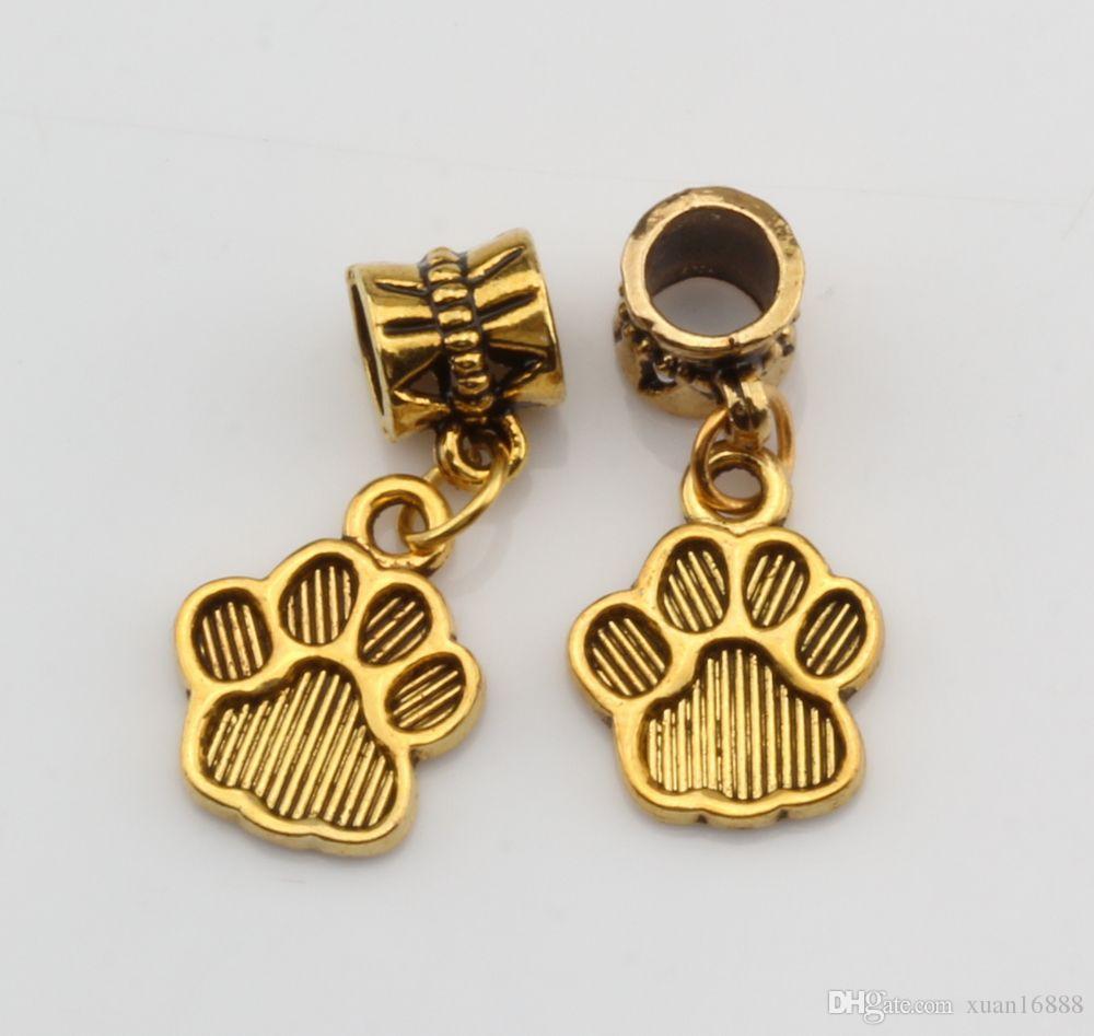 Hot ! Antique gold Tone Paw Print Charm Dangle Beads Fit Charm Bracelets DIY Jewelry 12x27mm