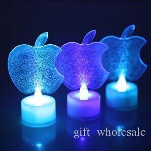 2016 New Mix Styles LED mignon pomme cristal Acrylique cygne animaux bougie lumière lampe de nuit enfants cadeau avec multi couleurs changeantes pour la fête