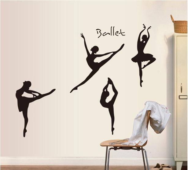 Four Ballet Dancer Wall Sticker Decoration Stick Wall Decals Wallpaper  Graphics Wall Graphics Ballet Dancers Wall Sticker Decor Wall Decal Online  With ...