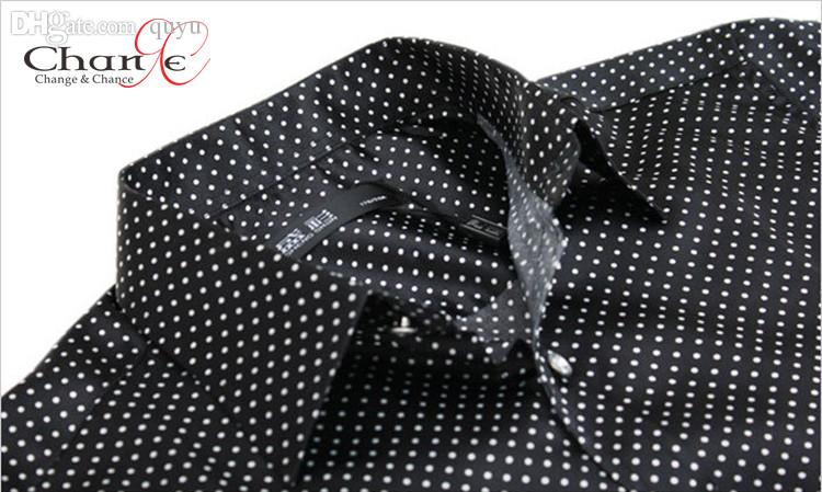 Online Cheap Wholesale Mens Polka Dot Dress Shirt Mens Long Sleeve ...
