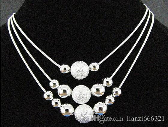 Détail le plus bas prix cadeau de Noël 925 Sterling Silver Mode Collier Boucles d'oreilles Ensemble 925 Silver Bijoux Set Livraison Gratuite