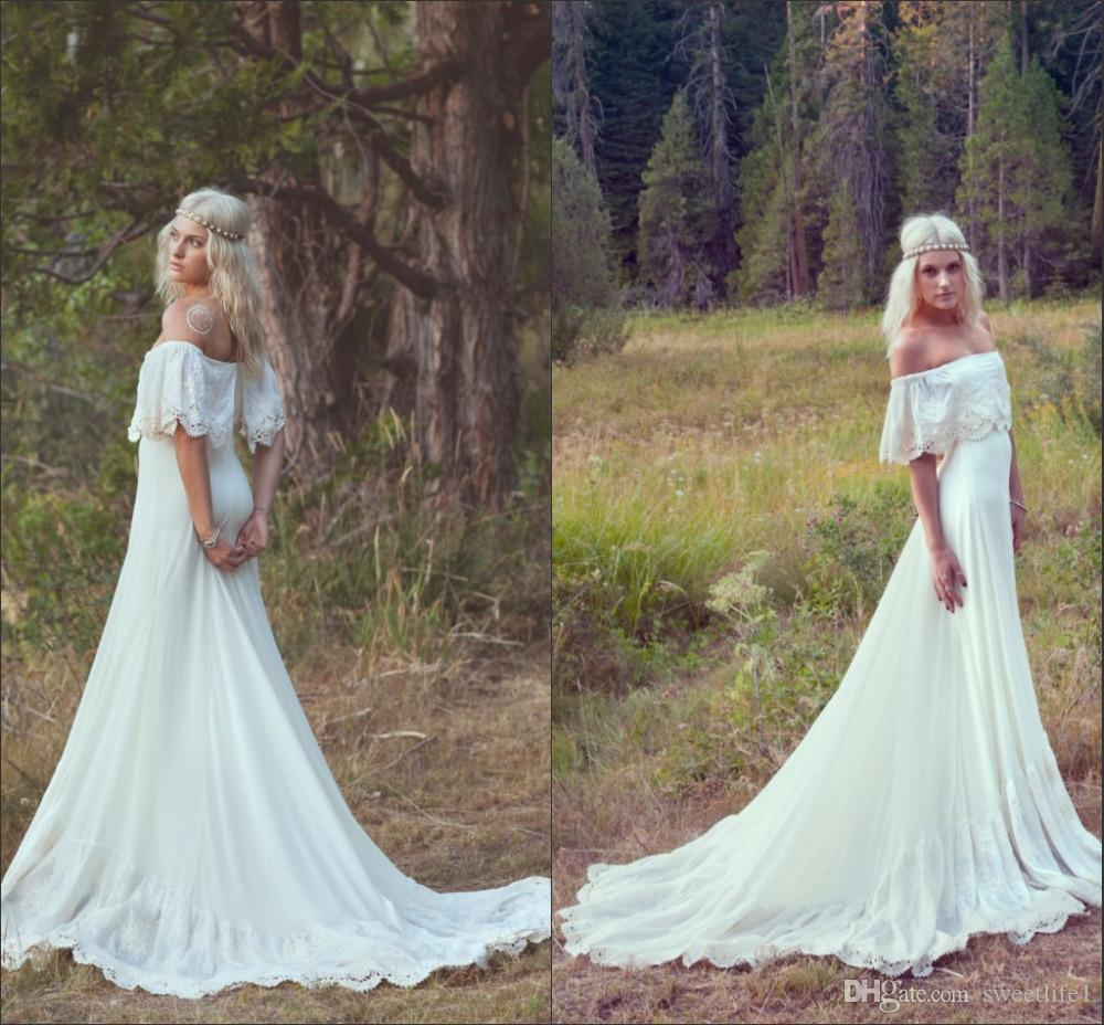 2020 Sexy Off Shoulder A Line Bohemian Wedding Dresses Summer Lace Beach Boho Hippie Bridal Gowns Vintage Custom Made