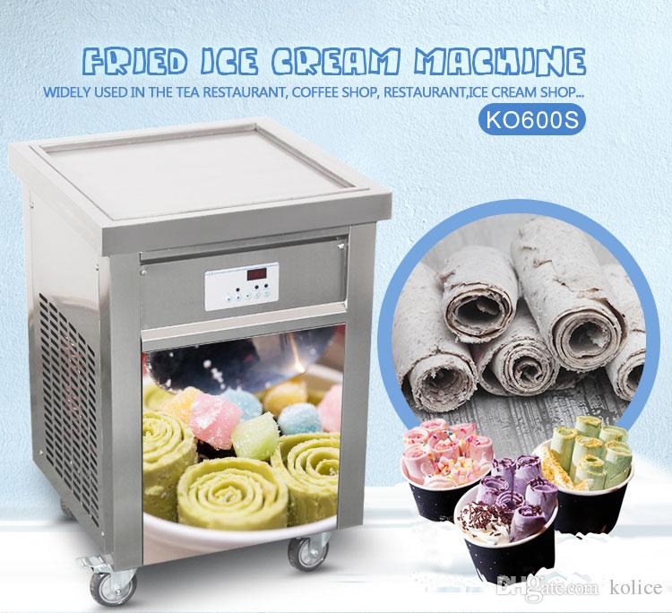 Kolice US EU single square 50*50cm pan THAI INSTANT STIR ROLL ICE CREAM MACHINE FRY ICE CREAM ROLL MACHINE с хладагентом