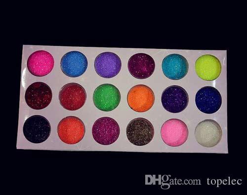 نوعية جيدة 18 ألوان مسمار الفن بريق مسحوق الغبار للأشعة فوق البنفسجية هلام الاكريليك مسحوق الديكور نصائح 18 قطعة / صندوق شحن مجاني dhl # 6668
