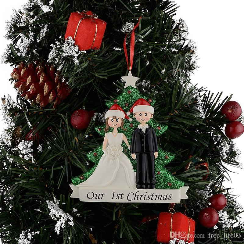 wholesale couple our first christmas resin glitter tree ornaments