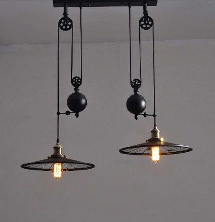 Acquista Lampada Da Cucina Vintage Con Ruote Retro Nero Lampadario ...