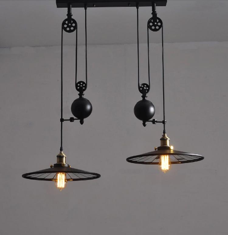 Vintage kitchen lamp with wheels retro black wrought iron chandelier e27 led home industrial light fixtures dining room pendant light lampe pulley pendant