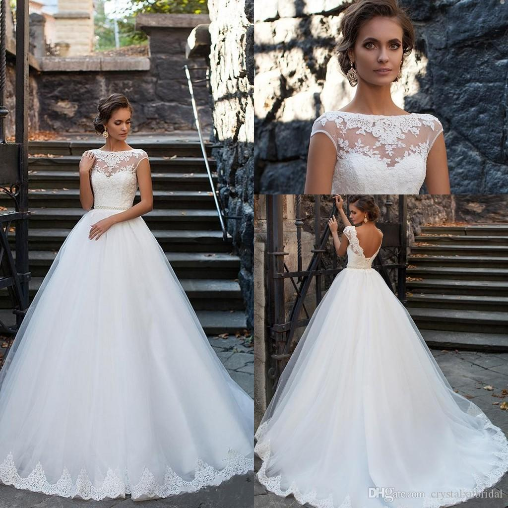Milla Nova 2018 Cheap A Line Wedding Dresses Illusion Cap Sleeves Lace  Applique Beaded Crystal Open Back Long Plus Size Formal Bridal Gowns Plus  Size ... 0a5233944a3f