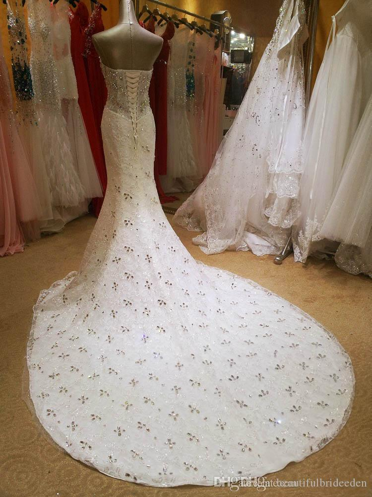 Luxurious Crystal Diamond Beaded Mermaid Wedding Dresses Sweetheart Lace Up Corset Court Train Bridal Gowns Sexy Custom Made