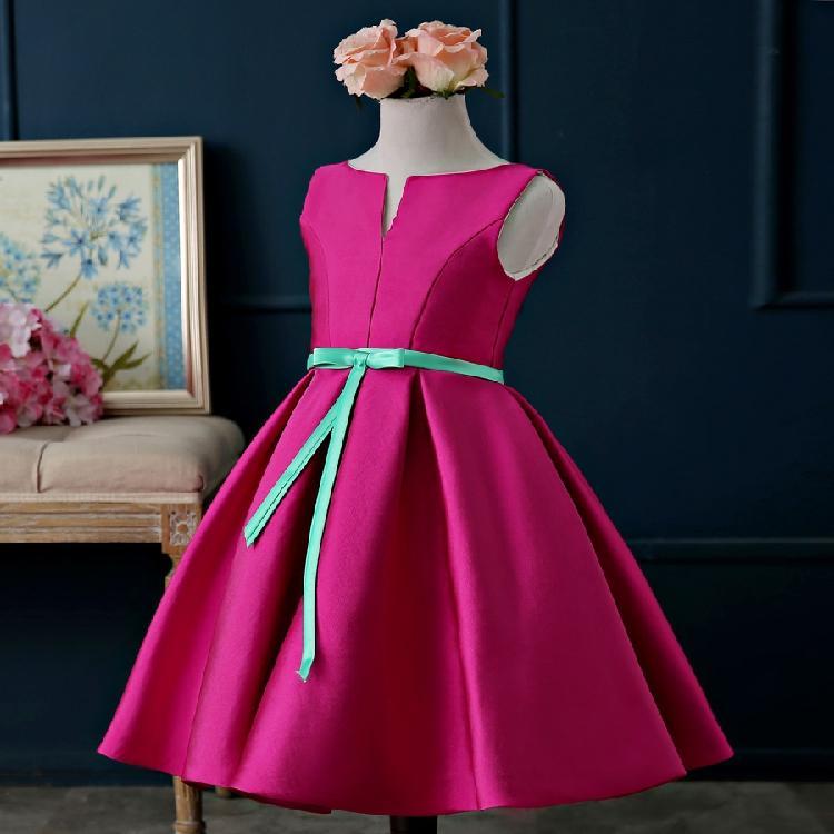 Hot Pink Flower Girl Dresses For Weddings Knee Length Cap Sleeve ...