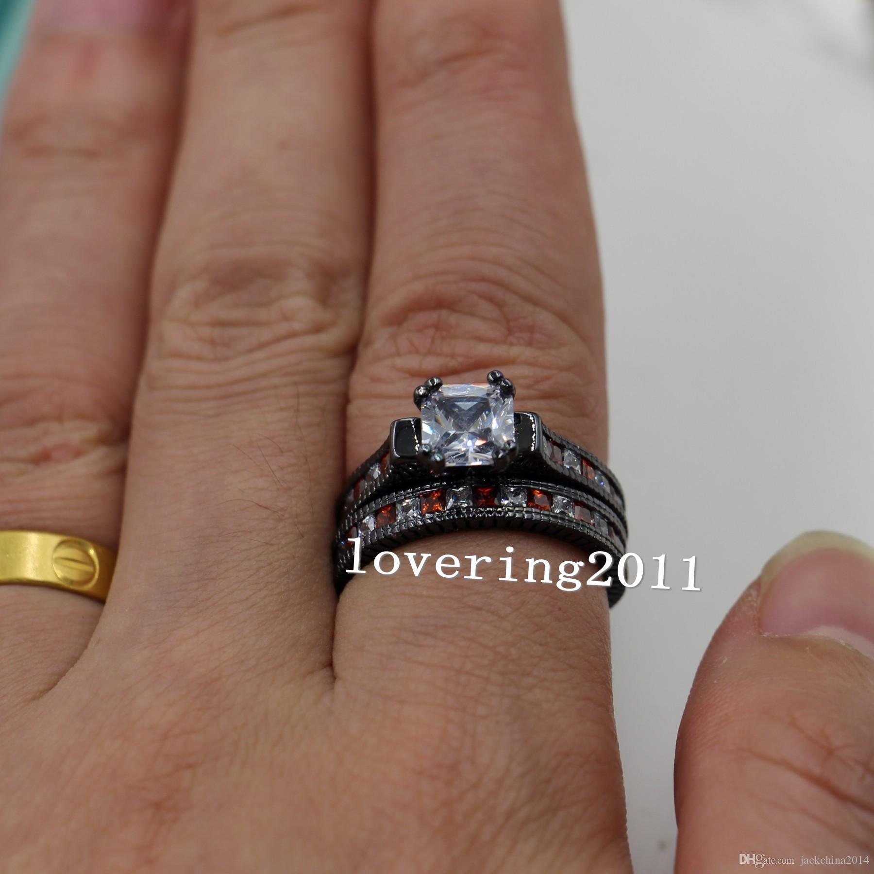 Taille 5-11 Retro Mode bijoux 14 kt or noir rempli rouge grenat Multi pierre CZ simulé diamant femmes mariage bague de fiançailles ensemble cadeau